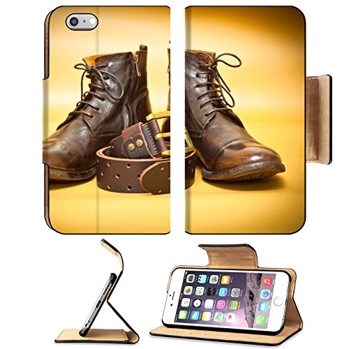 Luxlady Premium Apple iPhone 6 Plus iPhone 6S Plus Flip Pu Leather Wallet Case IMAGE ID: 34717408 Fashion leather shoes leather belt with gold buckle Yellow abstract background