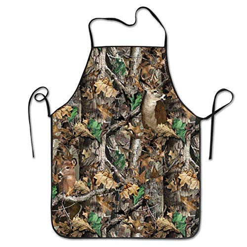 Sandayun88x Apron Realtree Camo Wallpapers Adjustable Kitchen Chef Apron with Pocket and Extra Long Ties,Commercial Men & Women Bib Apron for Cooking,Baking,Crafting,Gardening, -