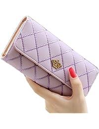 Billetera/cartera larga, de cuero, moderna, para mujer