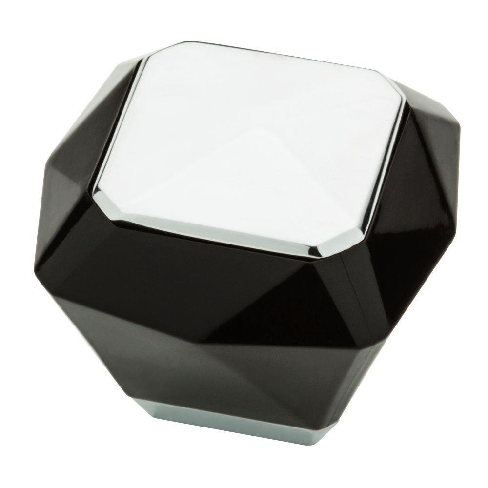 Liberty Kaley 1-3/8 in. Polished Chrome and Black Kaley Cabinet Knob