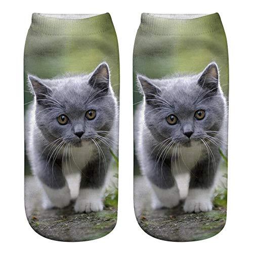 YJYDADA Socks,Popular Funny Unisex Short Socks 3D Cat Printed Anklet Socks Casual Socks (G)