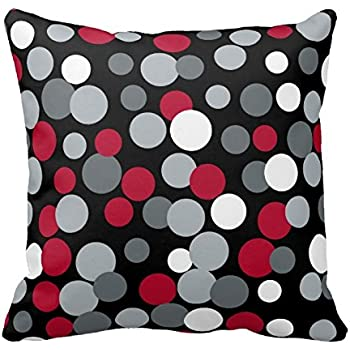 Amazon DECORLUTION Gray Red and Black Polka Dots Design Throw