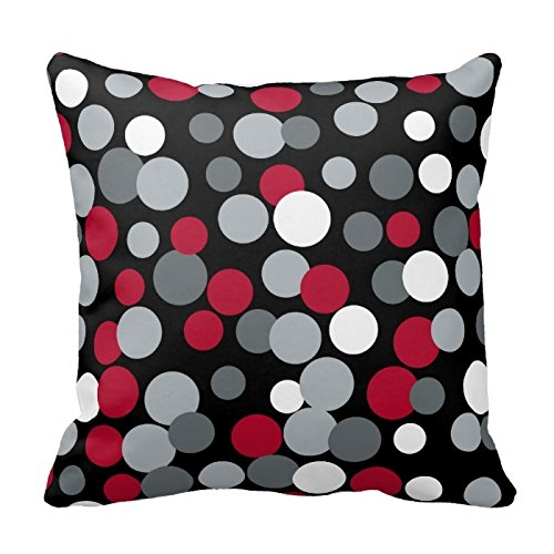 DECORLUTION Gray Red and Black Polka Dots Design Throw Pillow Cover Case Decorative Square for Home Sofa 18X18 Inches One Side (Red And White Throw Pillows)