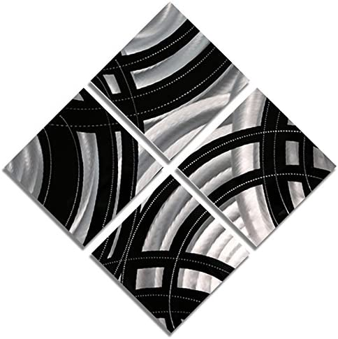 Statements2000 Abstract Modern Black and Silver Metallic Wall Home Decor – Contemporary Hand-Crafted Office Accent Art – Gridiron by Jon Allen