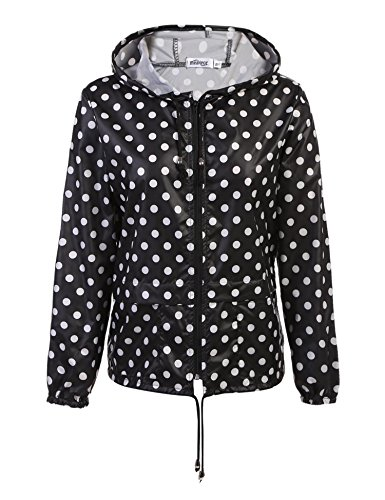 Coorun Femme Veste De Pluie Manteau Impermable Coupe-Vent Zipp Multi Style Blanc 320