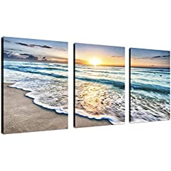QICAI 3 Panel Canvas Wall Art for Home Decor Blue Sea Sunset White Beach Painting The Picture Print On Canvas Seascape the Pictures For Home Decor Decoration,Ready to Hang