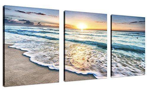 TutuBeer 3 Panel Canvas Wall Art for Home Decor Blue Sea Sunset White Beach Painting The Picture Print On Canvas Seascape The Pictures for Home Decor Decoration,Ready to Hang]()