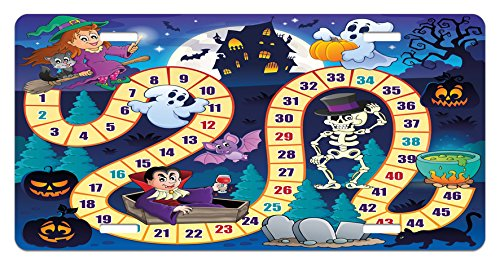 Lunarable Board Game License Plate, Halloween Theme Happy Witch Girl Vampire Ghost Pumpkins Happy Comic, High Gloss Aluminum Novelty Plate, 5.88
