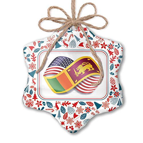 NEONBLOND Christmas Ornament Infinity Flags USA and Sri Lanka Red White Blue Xmas