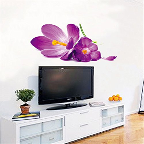 Percimiya Purple Big Flower DIY Removable Vinyl Art Stickers Wall Decals Wall Treatments Stickers for Home Kids Bedroom Living Room Decor & Gifts