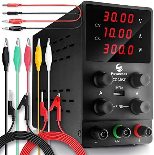 POWERBES DC Power Supply Variable 30V 10A - Adjustable Switching Regulated Benchtop Power Supply - Highly Portable 3-Row & 4 Digits Display Highly Accurate (0.01V - 0.001A) Testing Leads Included