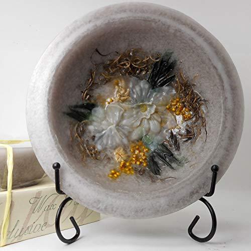 - Habersham - Garden Vanilla Wax Pottery Bowl 7 Inch With Free Stand
