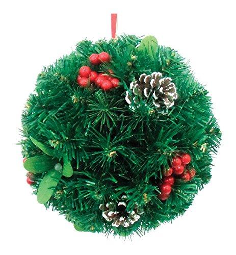 Mistletoe Ball Pendant (Greenfields Hanging Mistletoe Kissing Ball Red Pvc 8