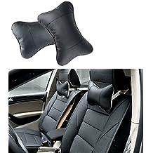 iiniim 2Pcs Car Auto Leather Dog Bone Shape Head Neck Pillow Cushion Headrest Pad (Black)