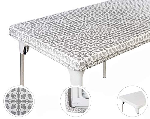 TopTableCloth Table Cover Silver Patterned Elastic on the corner for folding table 6ft (30