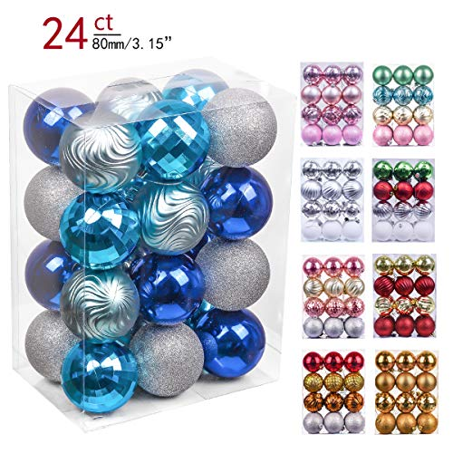 - Valery Madelyn 24ct 80mm Winter Wishes Blue Silver Shatterproof Christmas Ball Ornaments Decoration,Themed with Tree Skirt(Not Included)