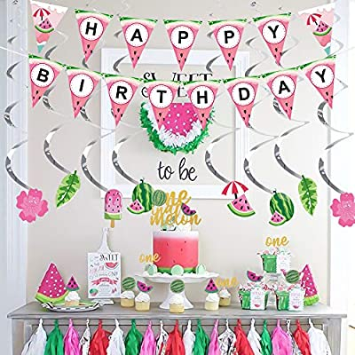 Haojiake Watermelon Party Supplies Decoration One in a Melon Cake Topper Hanging