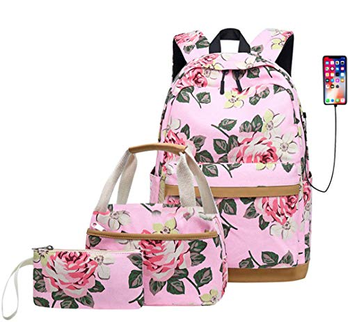 KaixinRoom 3 Pcs Backpack Set Teen Girls Floral Print School Bags USB Laptop Daypack Portable Lunch Bags Purse (Pink)