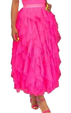 SOWTKSL Falda de Tul para Mujer, Formal, Alta, Baja, asimétrica ...