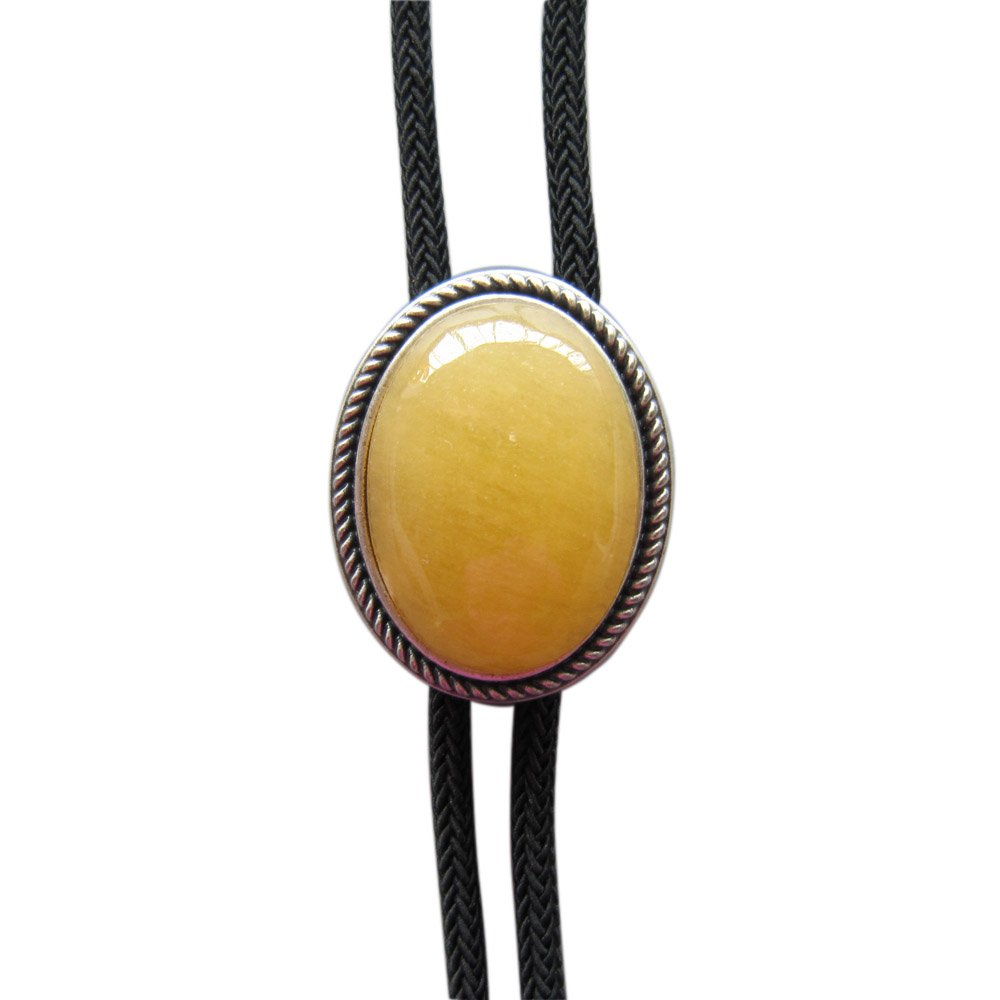 Vintage Silver Plated Handcraft Nature Topaz Jade Oval Wedding Bolo Tie