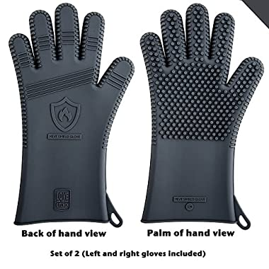 Latest Technology in Men's Silicone Barbecue Gloves | Heat Resistant for Grilling, Cooking, Baking & Smoking Protection | Great BBQ Grill & Oven Mitts, 13.5  Long (1 Pair, Size L - See Sizing Chart)