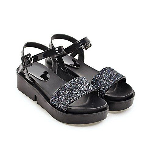 BalaMasa Ladies Platform Metal Buckles Peep-Toe Urethane Sandals Black Jy5p4WWK