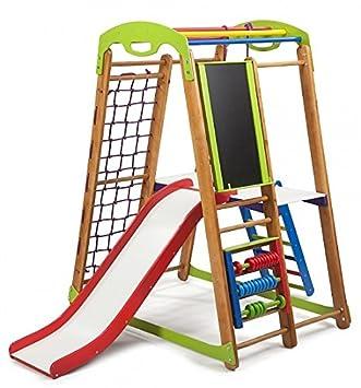Kinder zu Hause aus Holz Spielplatz mit Rutschbahn ˝Junior-1 Kletternetz Ringe Kletterwand