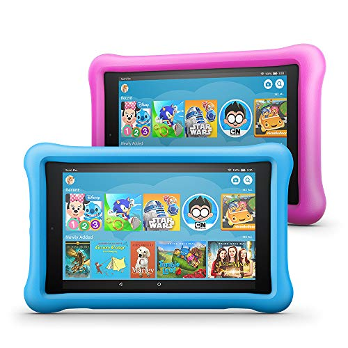 All-New Fire HD 8 Kids Edition Tablet 2-Pack, 8″ HD Display, 32 GB, Kid-Proof Case – Blue/Pink