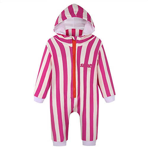 Unisex Baby Sport Jumpsuit Romper with Hoodie Hat & Striped Outfit for Boy Girl (Reds Striped Cincinnati Shirt)
