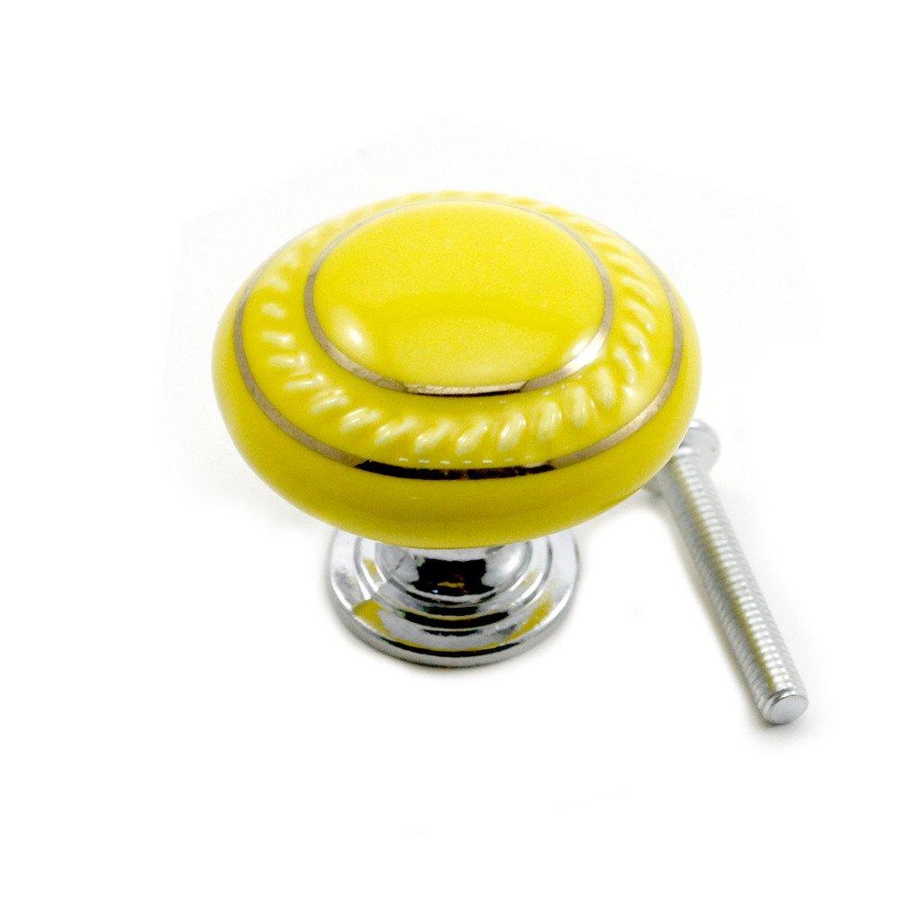 VANKER 1Pc Yellow Ceramic Round Cupboard Wardrobe Door Drawer Knob Pull Handle