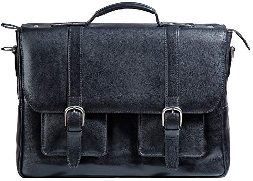 Ladderback Leather Briefcase for Men, Gordon, Full-Grain Leather Messenger Laptop Bag, 15 inch by 11.5 inch by 3.5 inch (Black)