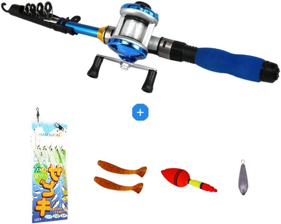 Ecisi Caña de Pescar para niños, luz telescópica portátil caña de ...
