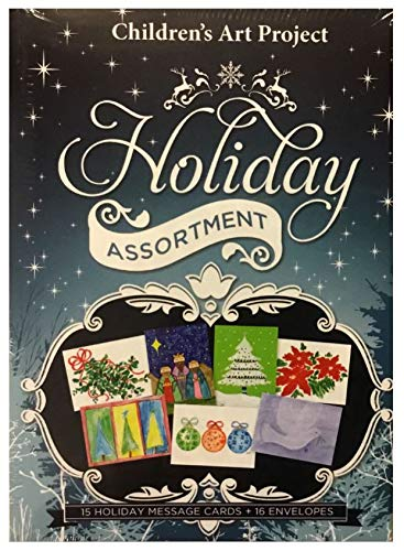 ((15) MD Anderson Children's Art Project Christmas Assortment Holiday Cards - 15 Cards & White Envelopes - Assorted Designs)