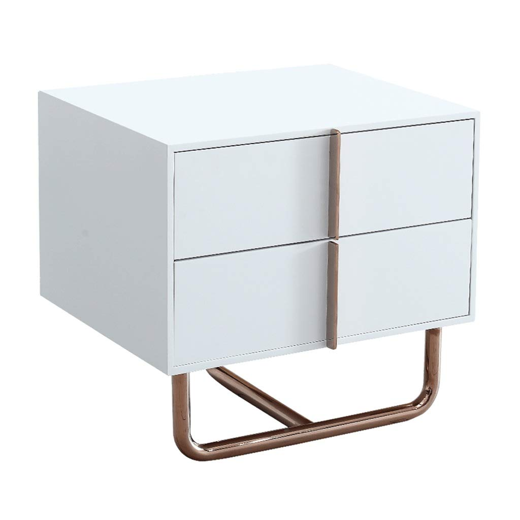 ベッドサイドテーブル ベッドサイドテーブルベッドルーム引き出しベッドサイドスモールテーブルメタルキャビネットフット2ポンピング収納キャビネット (Color : 白, Size : 50*39.8*46cm) B07MNMQ5CJ 白 50*39.8*46cm
