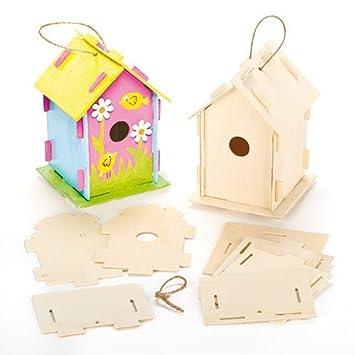Kits de Casitas de Madera para Pájaros para Decorar (Paquete de 2) Manualidades para niños: Amazon.es: Juguetes y juegos