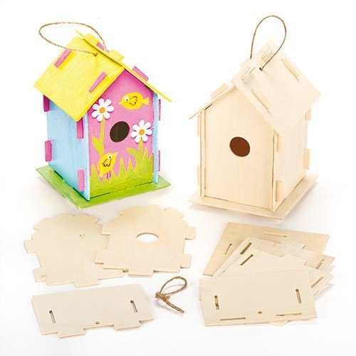 Wooden Birdhouse Kits (Pack Of 2) For Kids To Make & Decorate Baker Ross