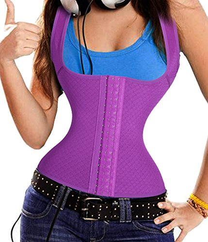Gotoly Quick Weight Loss Body Shaper Belly Waist Trainer Training Women (Small, Purple)