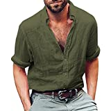 WUAI Clearance Men's Henley Shirt Cotton Linen Beach Yoga Loose Fit Long Sleeve Casual Shirt(Army Green,US Size M = Tag L)