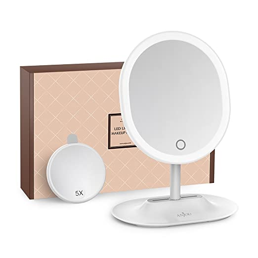 Makeup Mirror Rechargeable LED Lighted with 1X / 5 X Magnification, Anjou USB Rechargeable Vanity Mirror Touchscreen Dimmable LED Light for Countertop Cosmetic Makeup best LED vanity mirrors