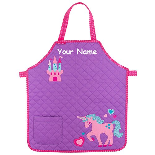 (Personalized Pink and Purple Quilted Unicorn and Princess Castle Glittered Apron for Girl with Pocket)