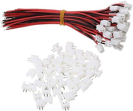 JST BEC STECKER /& BUCHSE MIT KABEL 100mm 10 PAAR 2 Pin RC Stecker w//`