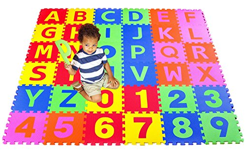 TYKE EDU - 36 Piece 6x6 ft Educational & Fun Play Puzzle Mat, Letters & Numbers Set. by TYKE EDUCATION