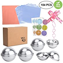 WEBSUN Bath Bomb Mold Set 104 PCS, 6 Set 3 Sizes Metal Bath Bomb Mold with Wrapping Papers, Shrink Wrap Bags & Stickers for Crafting Your Own Fizzies
