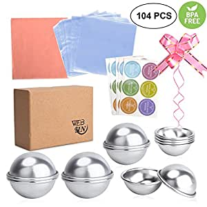 WEBSUN Bath Bomb Mold Set 6 Set 3 Sizes Metal Bath Bomb Mold 104 Pcs with Wrapping Papers, Shrink Wrap Bags & Stickers for Crafting Your Own Fizzies