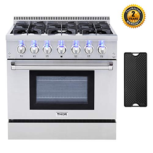- Thor Kitchen HRD3606U 36'' Dual Fuel Range Freestanding Professional Style with 5.2 cu.ft Convection Oven in Stainless Steel, 6 Burners, Cast-Iron Reversible Griddle