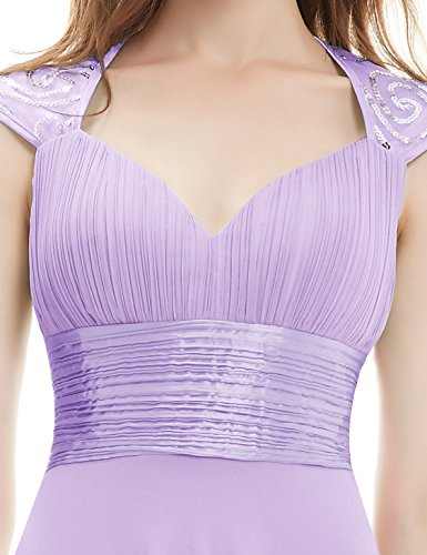 Ever-Pretty Womens Sleeveless V Neck Open Back Long Evening Gown 14 US Light Purple