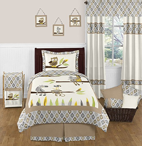Price comparison product image Safari Outback Jungle Animals Ikat Print Childrens and Kids 3 Piece Full / Queen Boys Bedding Set