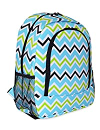 Ever Moda School Backpack Designer Print Collection with Padded Straps,Green Blue Chevron