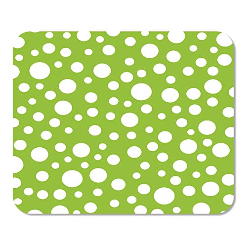 Suike Mousepad Computer Notepad Office Green Polka Random Dot Pattern Lime Circle Bubbles Scattered Tossed Bright Celebrate Home School Game Player Computer Worker 9.5x7.9 Inch