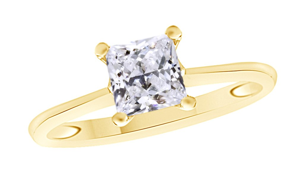Jewel Zone US Princess Cut White Cubic Zirconia Anniversary Solitaire Ring In 14k Gold Over Sterling Silver (3 Carat)